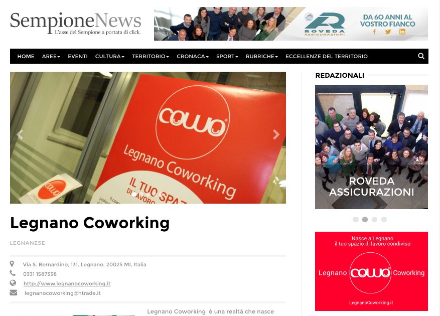 Coworking Legnano su Sempione News
